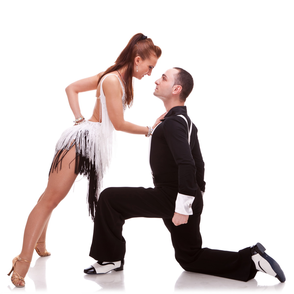 woman dancer leaning against her dance partner, in a sensual pose. passionate salsa dancing couple on white background